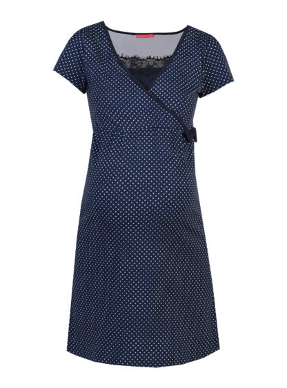 Nursing Dotted Dress With Lace Details