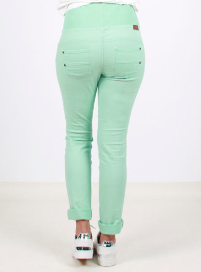 Light Green Trousers With Silicone Finish