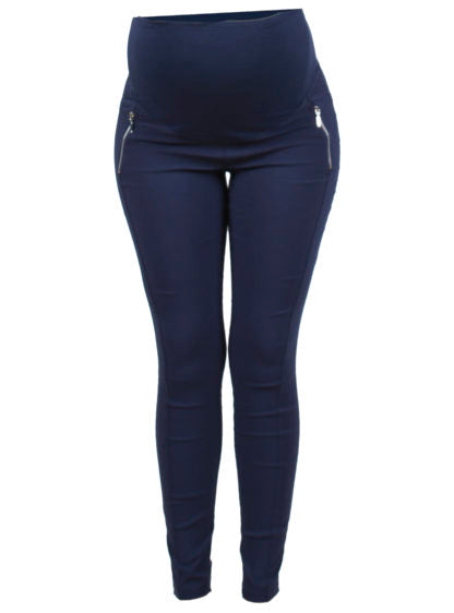 Navy Blue Bengal Trousers With Zippers