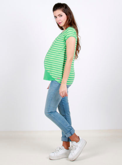 Nursing Short Sleeve White Striped Shirt With Open Front