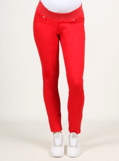 Basic Twill Trouser High Belly In Red Color