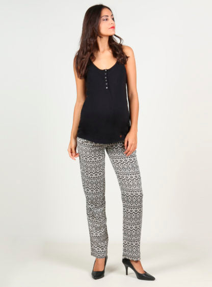 Printed Trouser With Smock On Belly In Black Color