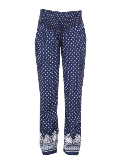 Printed Trouser With Smock On Belly In Navy Color
