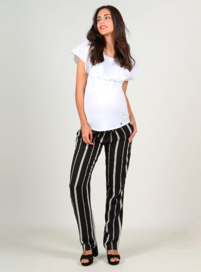 Stripped Trouser With Smock On Belly