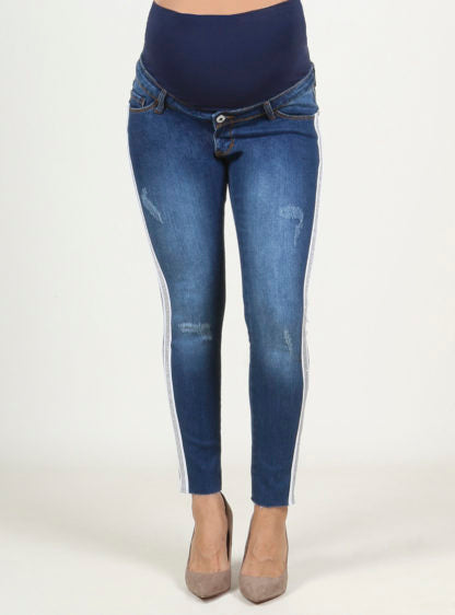 Slim Crop Jeans With Fantasy Strap At Sides.