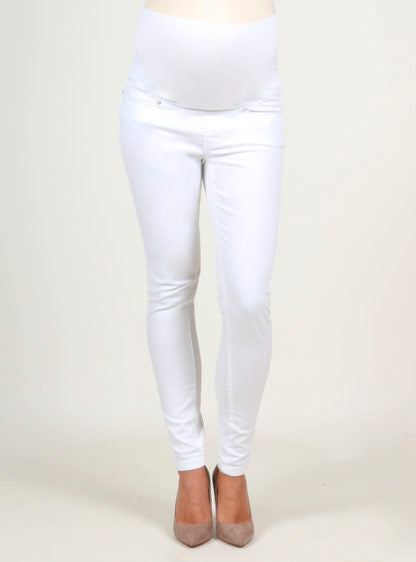 Slim White Jeans With High Belly