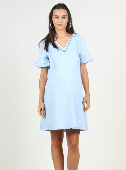 Nursing Denim Dress With Embroidery