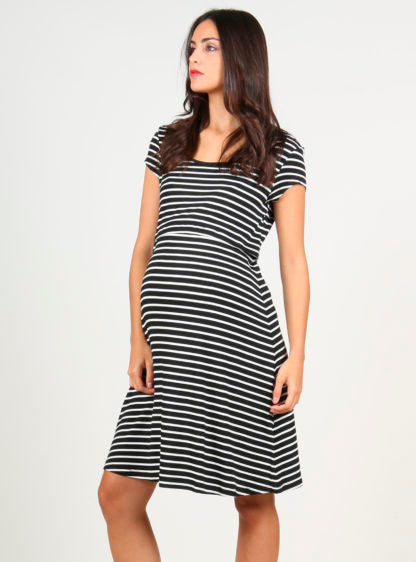 Evasée Stripped Nursing Dress Black And White