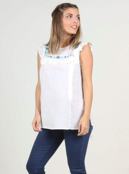 Nursing White Blouse With Embroidery On Chest
