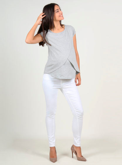 Stripped Grey Nursing T-Shirt Crossed On Front