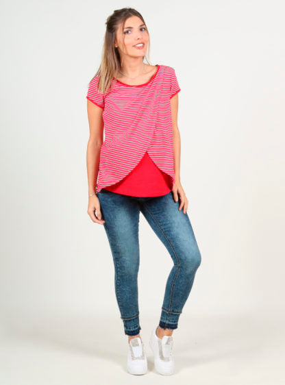 Stripped Red Nursing T-Shirt Crossed On Front