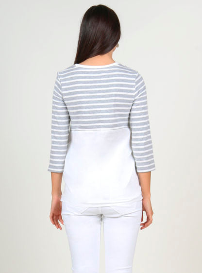 Stripped Nursing Grey T-Shirt With Lace Detail
