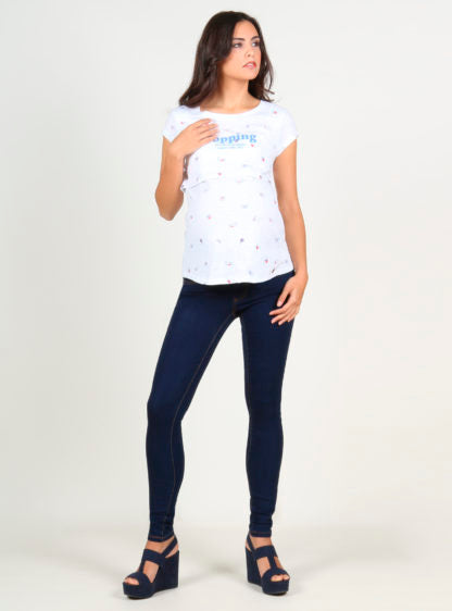 Short Sleeves Printed Nursing T-Shirt