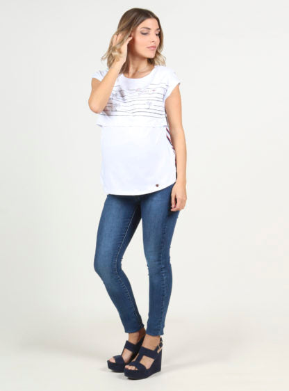 Nursing T-Shirt With Strippes On Backside
