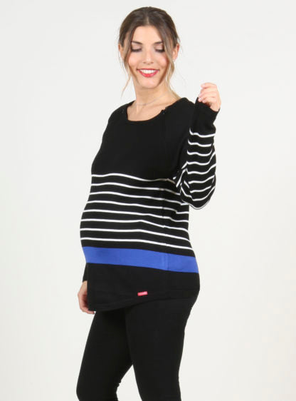 Stripped Nursing Sweater In Black Color
