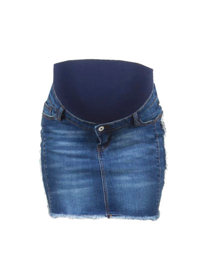 Short Denim Skirt With Fringes At Sides