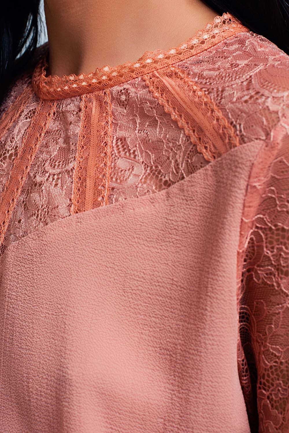 Pink Lace-Detailed Blouse