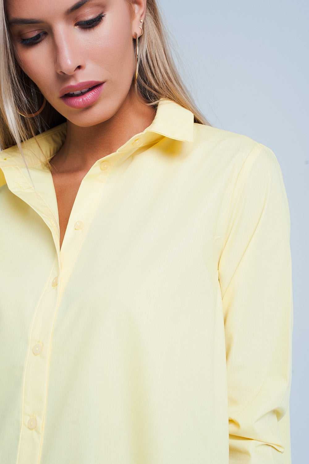 Basic Yellow Longline Shirtdress