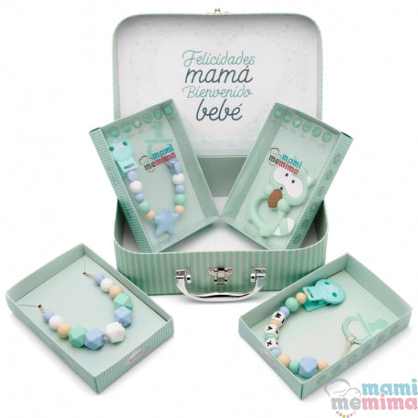 Blue and Mint Baby Basket - Congratulations Mom, Welcome Baby.