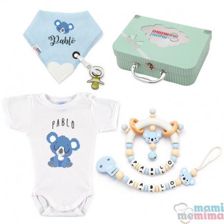 Baby Basket Koala Natural Blue - Baby Gift Set