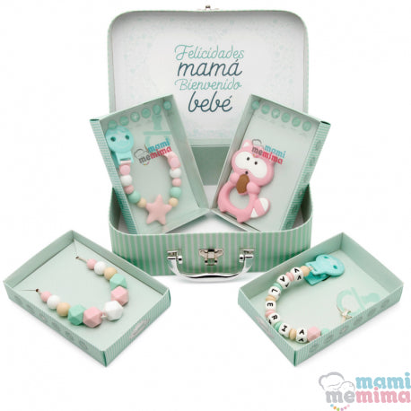 Pink and Mint Baby Basket - Congratulations Mom, Welcome Baby.