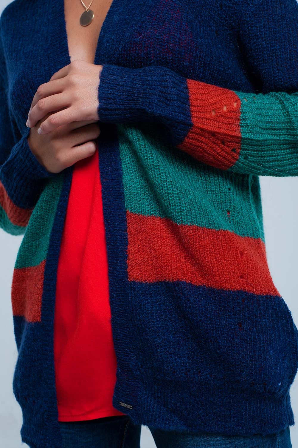 Blue Green And Red Striped Knit Cardigan In Mohair