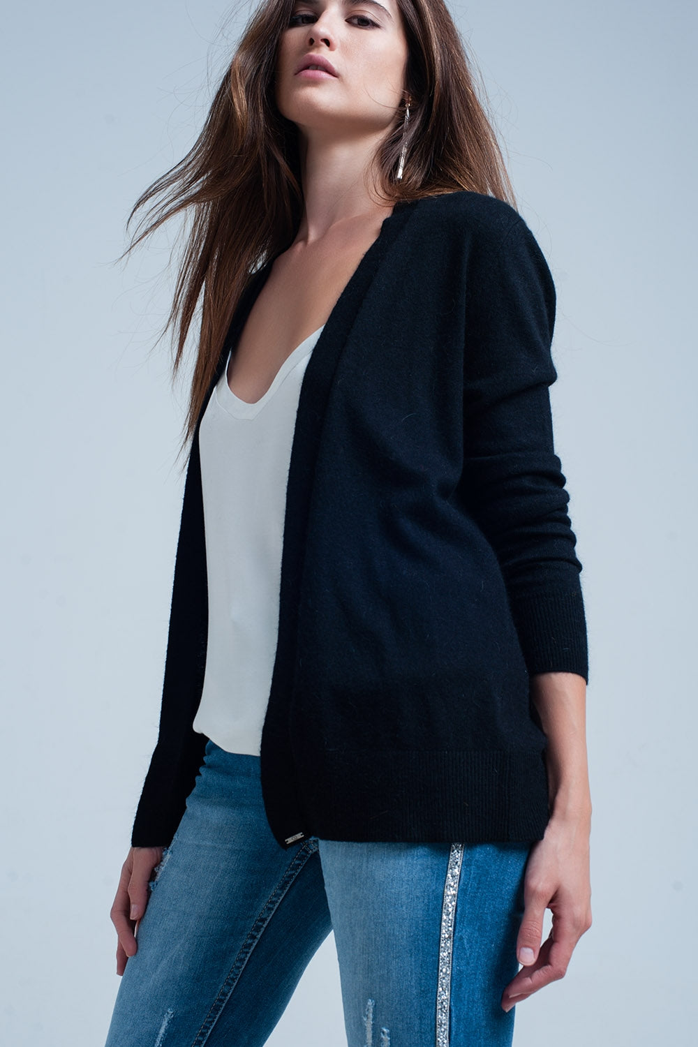 Black Long Sleeves Cardigan With Angora