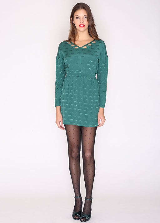 Cheetas Embellished Dress Green