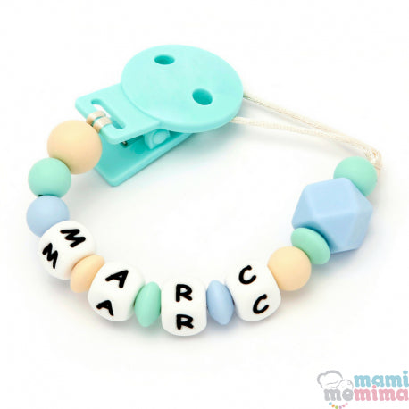 Blue + Mint Personalized Silicone Teether Pacifier
