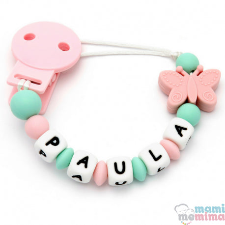 Butterfly Pink + Mint Personalized Silicone Teether Pacifier