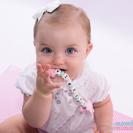 Butterfly Pink + Pink Personalized Silicone Teether Pacifier