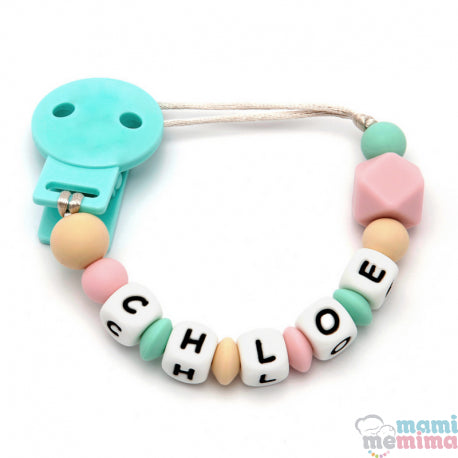 Pink + Mint Personalized Silicone Teether Pacifier