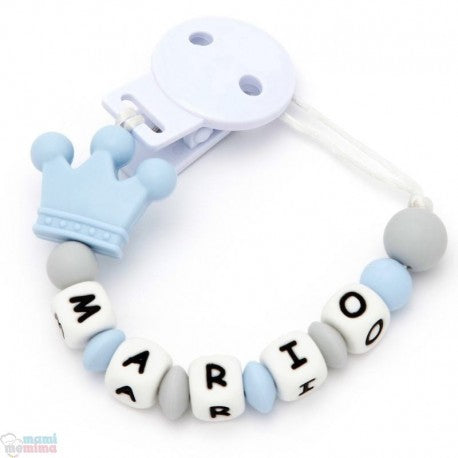 Prince Sweet Blue Personalized Silicone Teether Pacifier