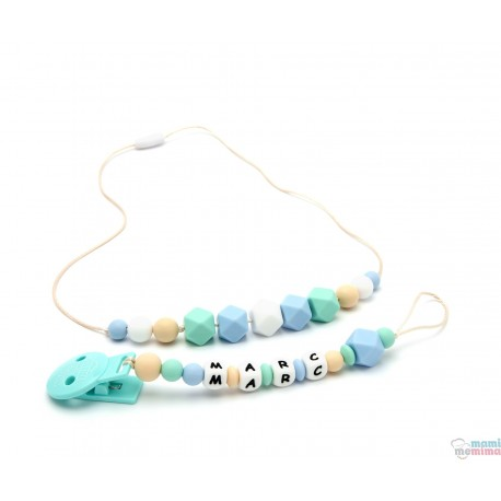 Blue and Mint Pack Necklace Teether and Personalized Pacifier Teether