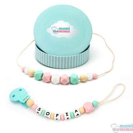 Pink and Mint Pack Necklace Teether and Personalized Pacifier Teether