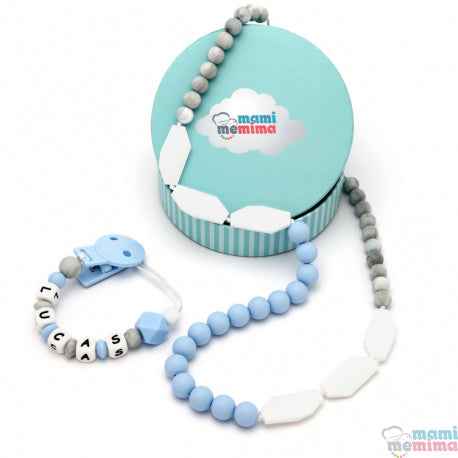 Sweet Blue Pack Necklace Teether and Personalized Pacifier Teether