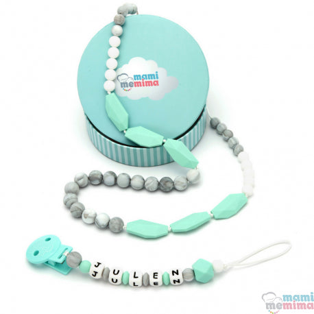 Sweet Mint Pack Necklace Teether and Personalized Pacifier Teether