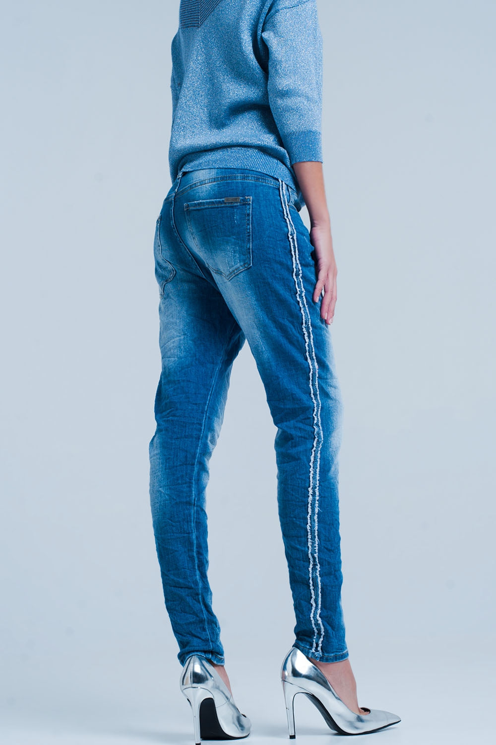 Blue Jeans With Frayed Side Stripe