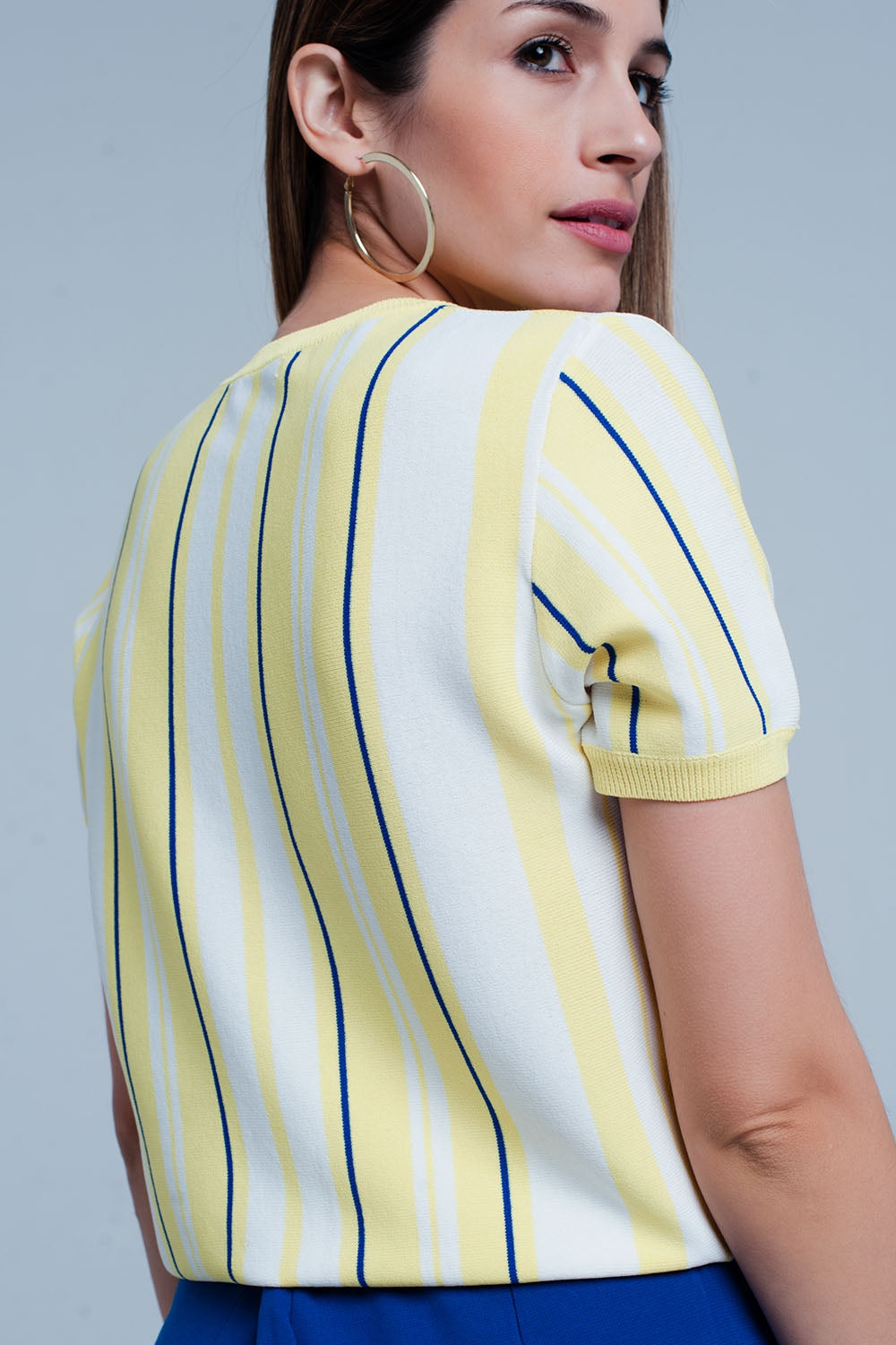 Yellow Striped Short Sleeve Sweater