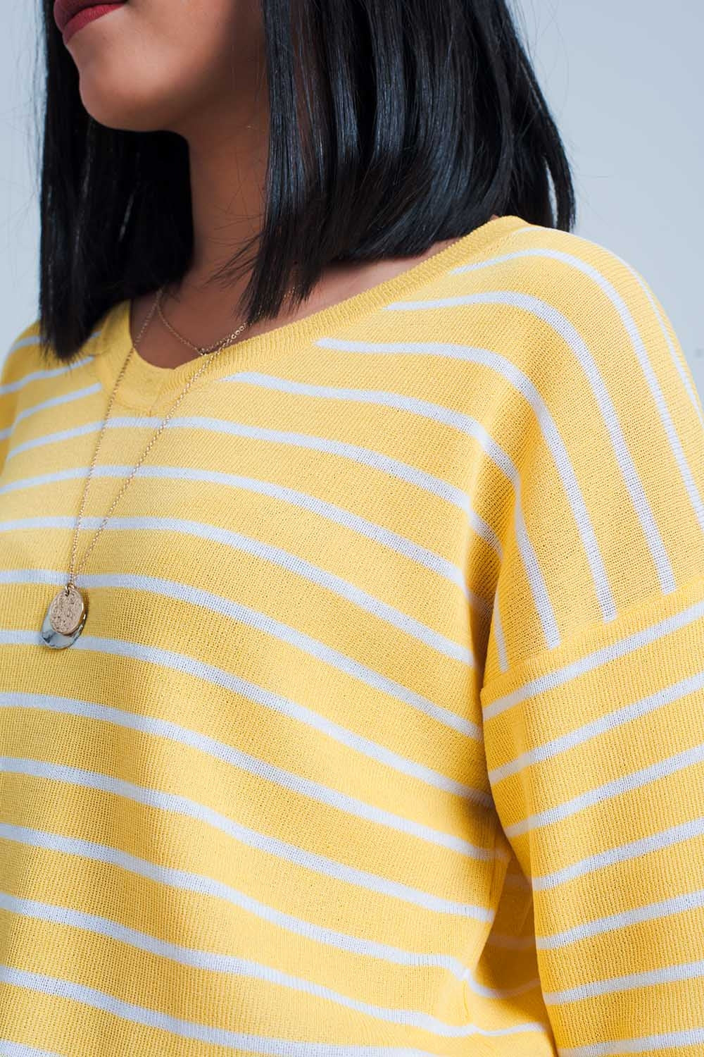 Yellow  Striped Short Sleeve V-Neck Sweater