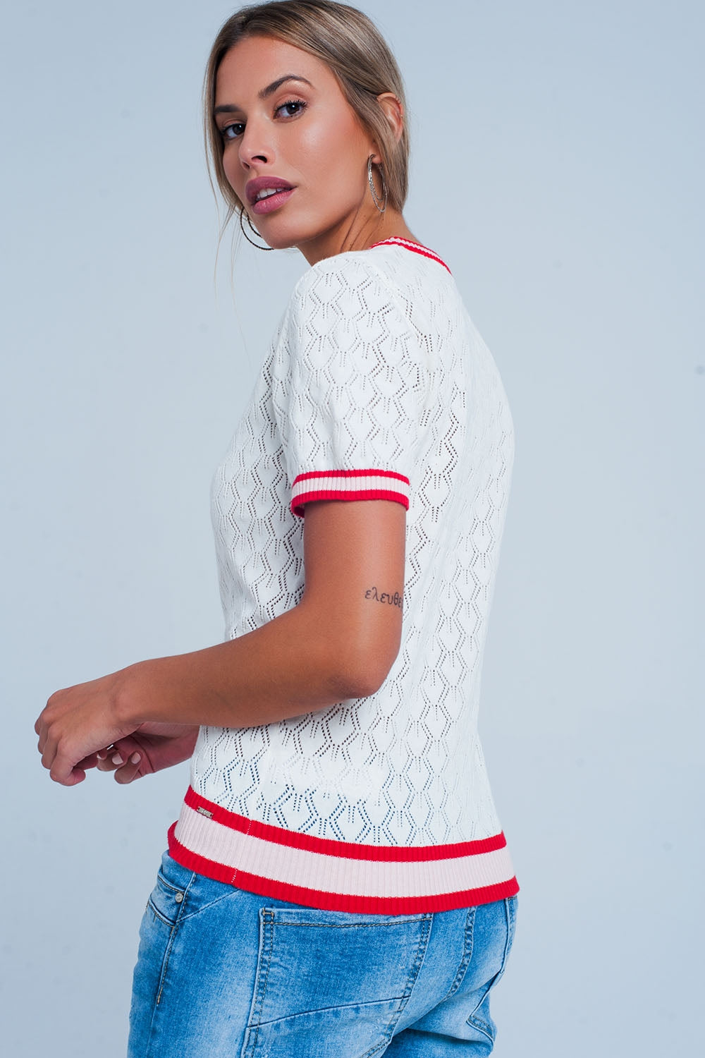 White Open Knit Sweater In Geo Pattern