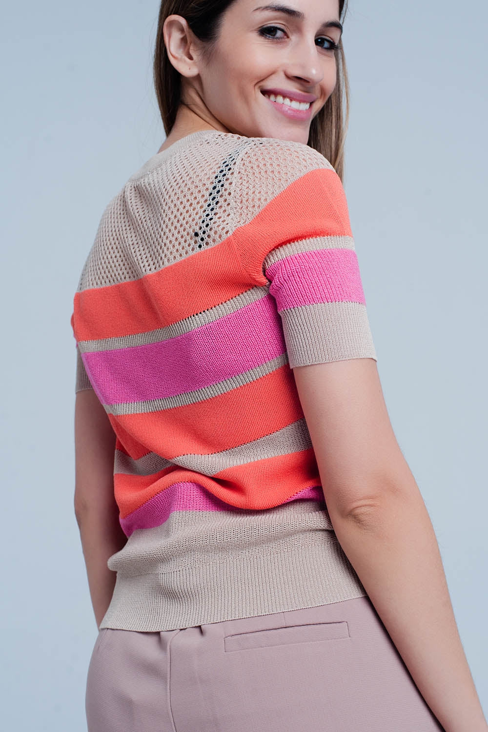 Orange Striped Open Knit Sweater Short Sleeves