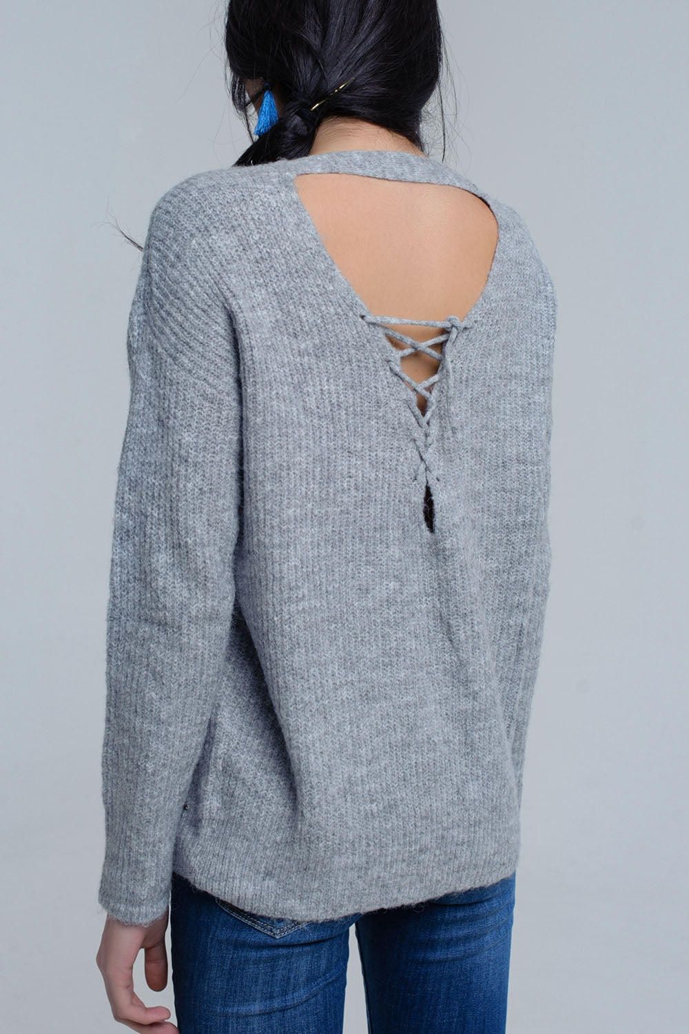 Gray Knitted Sweater With Tie-Back Closure