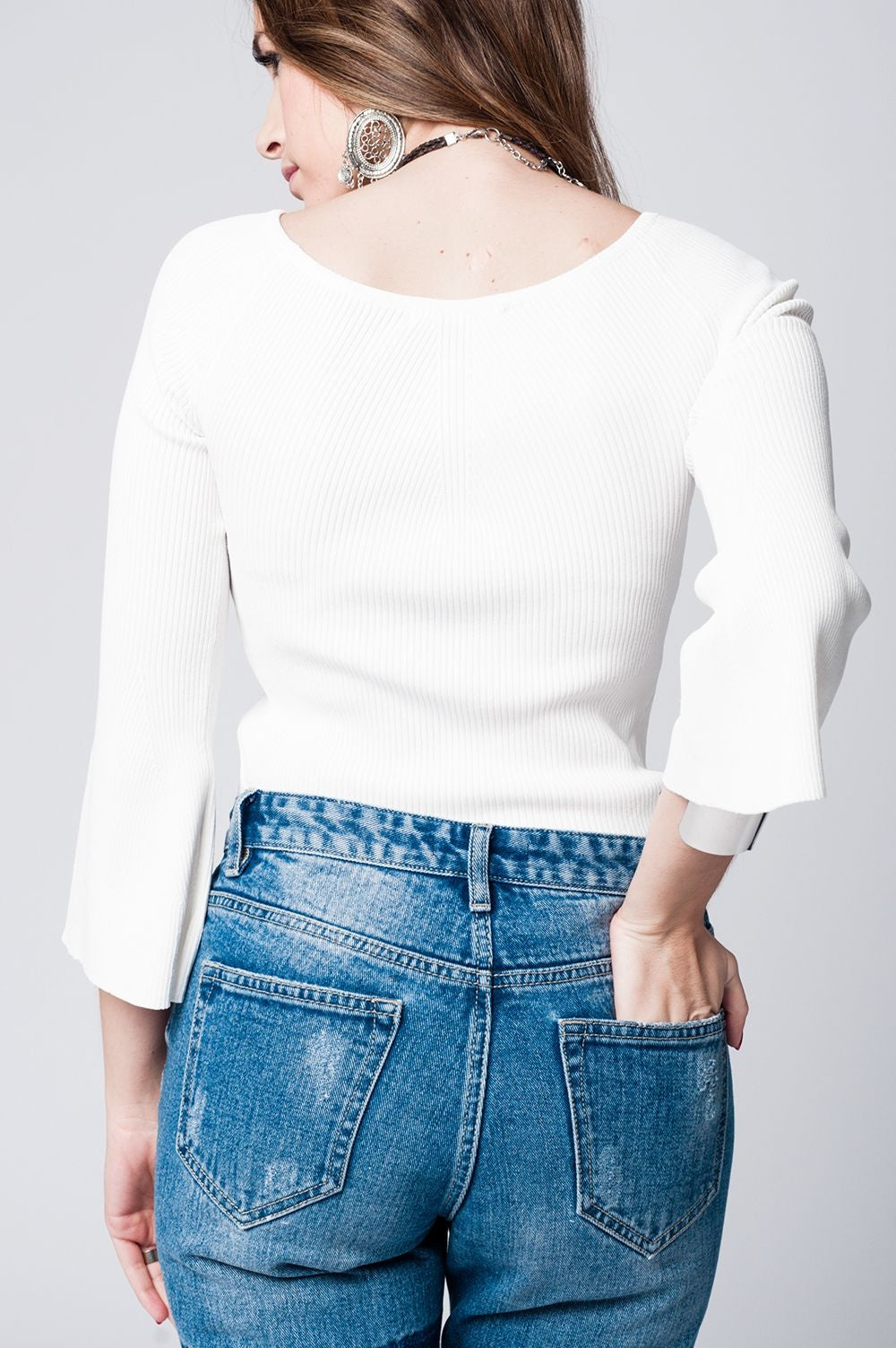 White Textured Knitted Sweater