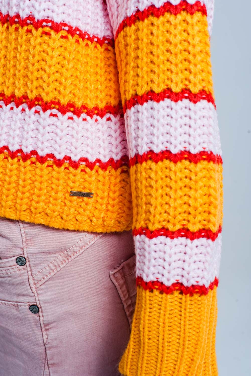 Orange And Pink Color Block Stripe Sweater