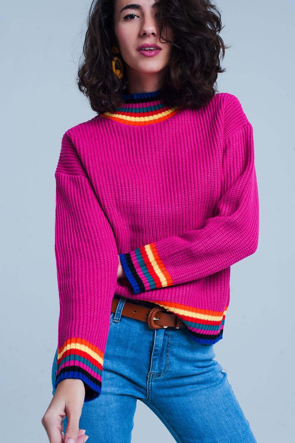 Fuchsia Stripe Detail Sweater