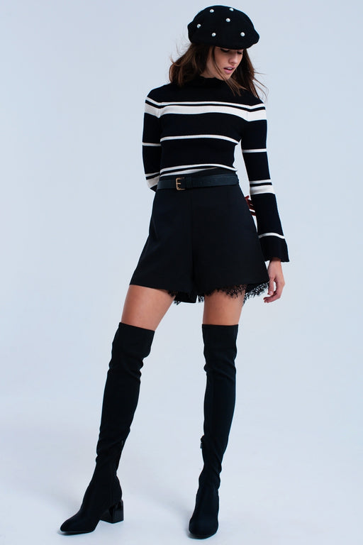 Cream Striped Black Sweater