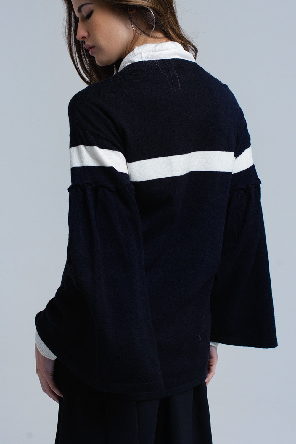Black Sweater With White Stripe