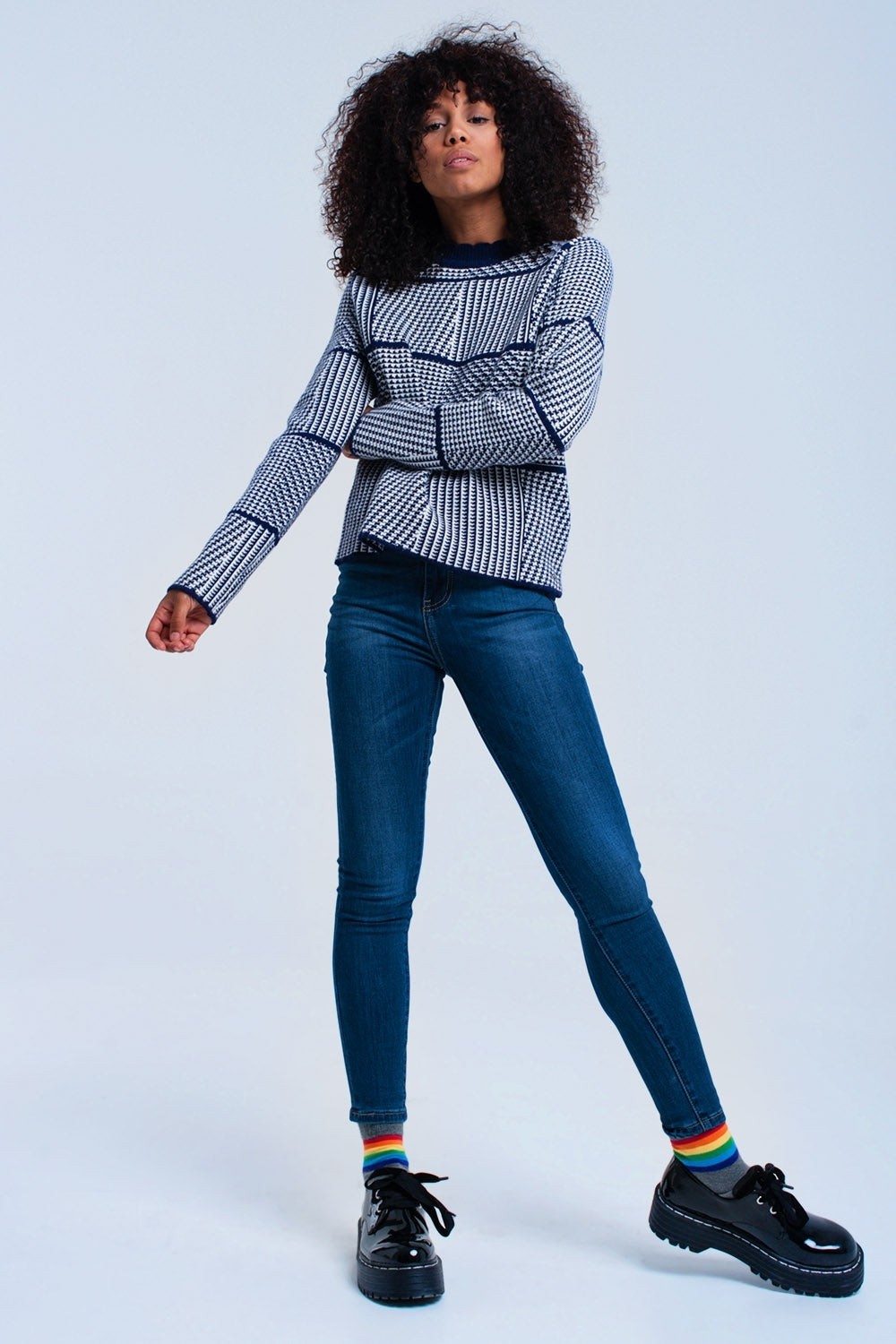 Navy Textured Sweater