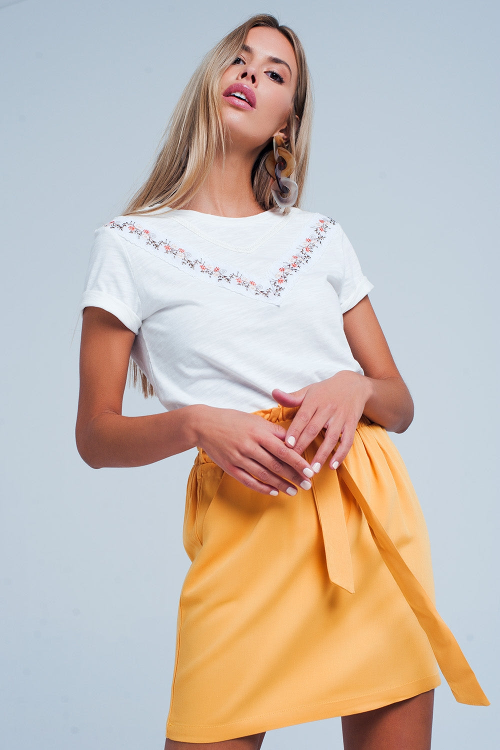 Yellow Mini Skirt With Bow Detail